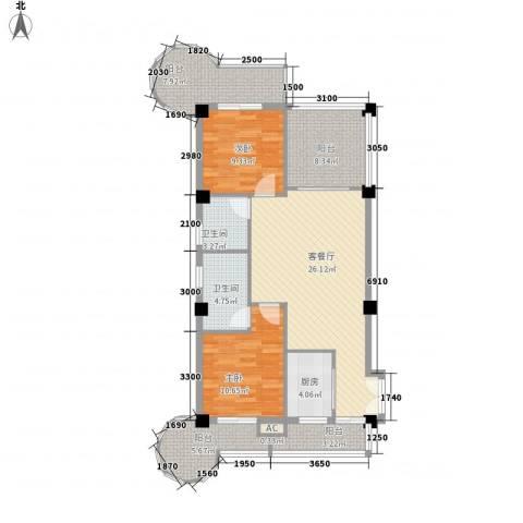 庄园丽都2室1厅2卫1厨100.00㎡户型图