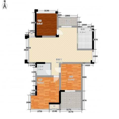 金都名苑3室1厅1卫1厨132.00㎡户型图