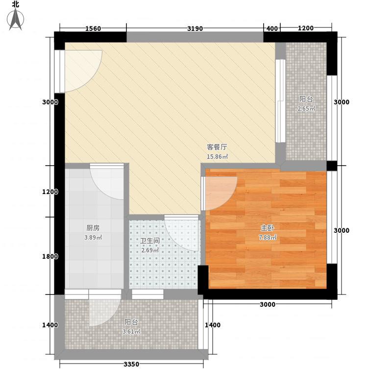 经纬府邸53.70㎡三期高层1#楼C户型1室1厅1卫1厨