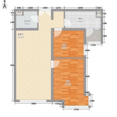清泉山庄2室1厅1卫1厨97.00㎡户型图
