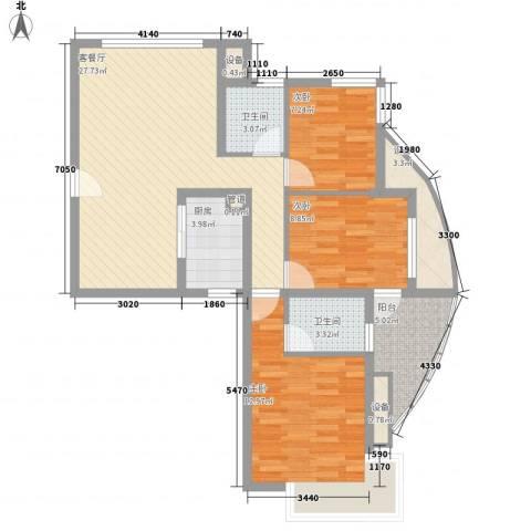 大学康城美域3室1厅2卫1厨112.00㎡户型图