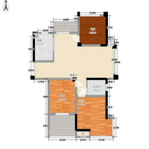 金都名苑3室1厅1卫1厨130.00㎡户型图
