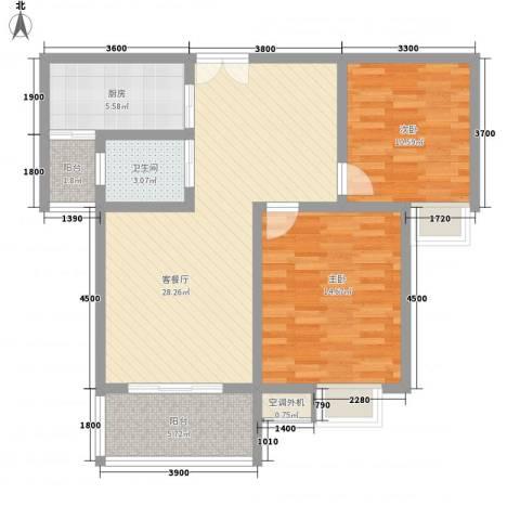 清泉山庄2室1厅1卫1厨102.00㎡户型图