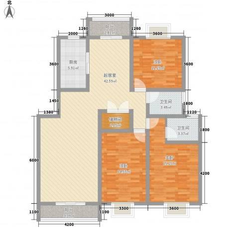 阳光府邸3室0厅2卫1厨127.00㎡户型图