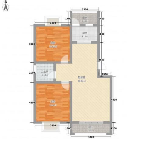 阳光府邸2室0厅1卫1厨72.42㎡户型图