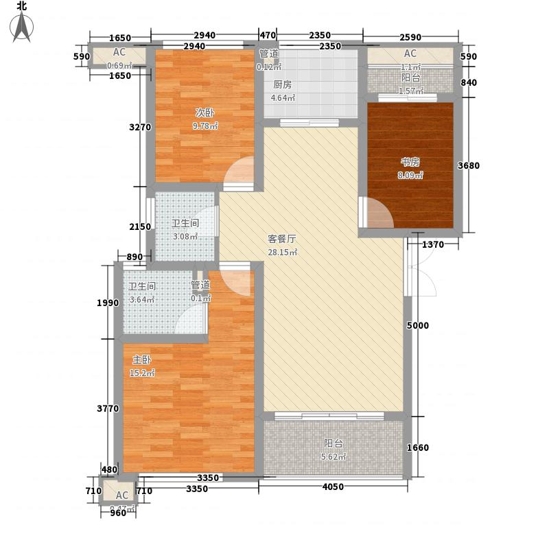 杰仕豪庭121.00㎡一期标准层B1户型3室2厅2卫1厨