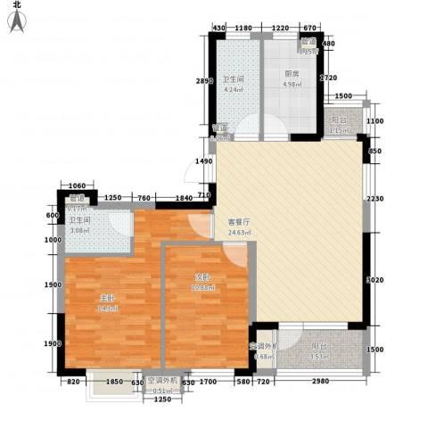 东尼中央花园2室1厅2卫1厨99.00㎡户型图