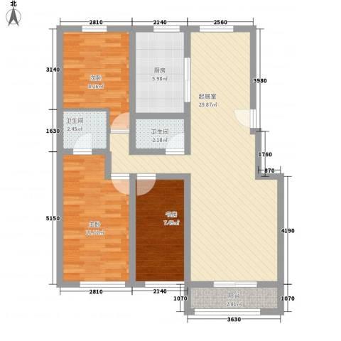 丰和小区3室0厅2卫1厨104.00㎡户型图