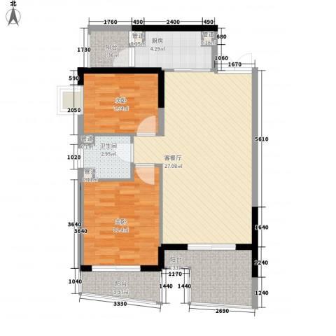 桃源居2室1厅1卫1厨87.00㎡户型图