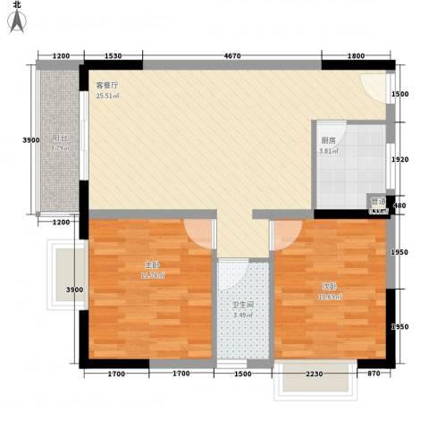 新蓝湾2室1厅1卫1厨84.00㎡户型图