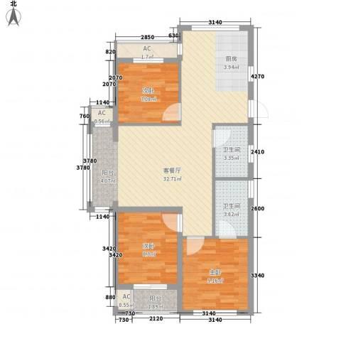 南美假日3室1厅2卫0厨99.00㎡户型图