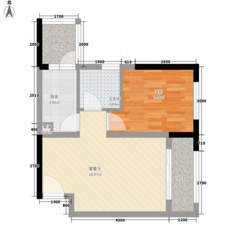 盛世华城1室1厅1卫1厨59.00㎡户型图