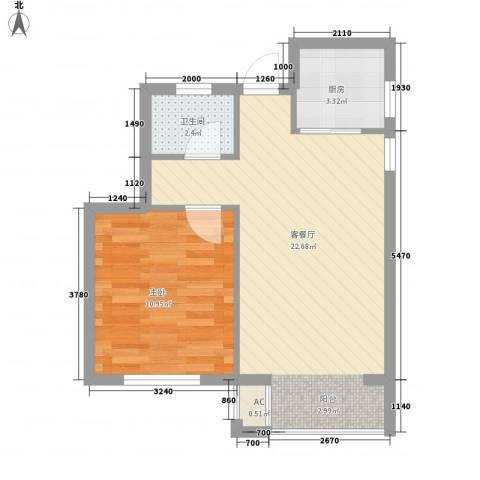 南美假日1室1厅1卫1厨56.00㎡户型图