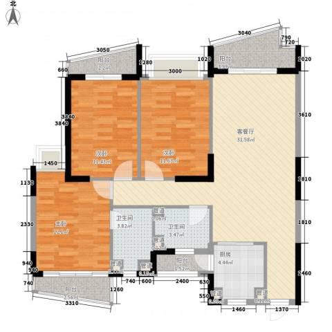 桃源居3室1厅2卫1厨129.00㎡户型图