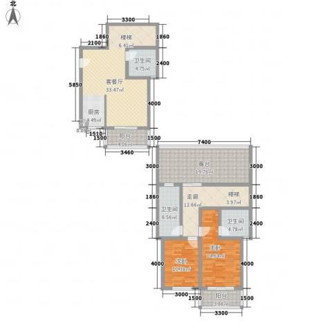 古镇庭苑2室1厅3卫0厨121.00㎡户型图