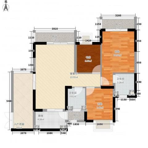 桃源居3室1厅2卫1厨110.00㎡户型图