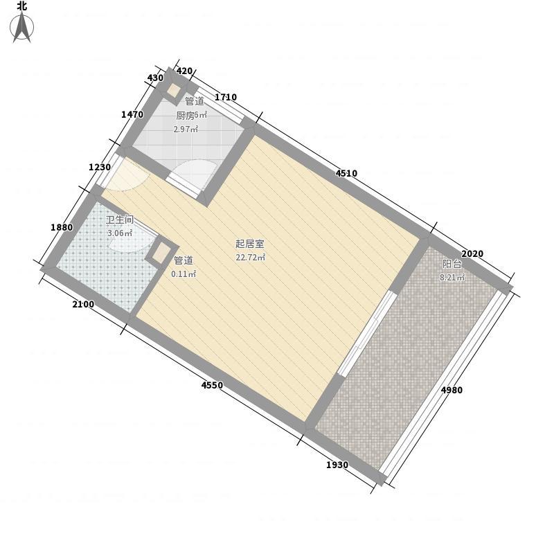棕榈半岛国际公寓51.75㎡棕榈半岛国际公寓户型图A1-1B户型图1室1卫1厨户型1室1卫1厨