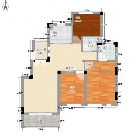 蓉湖山水3室1厅2卫1厨89.00㎡户型图
