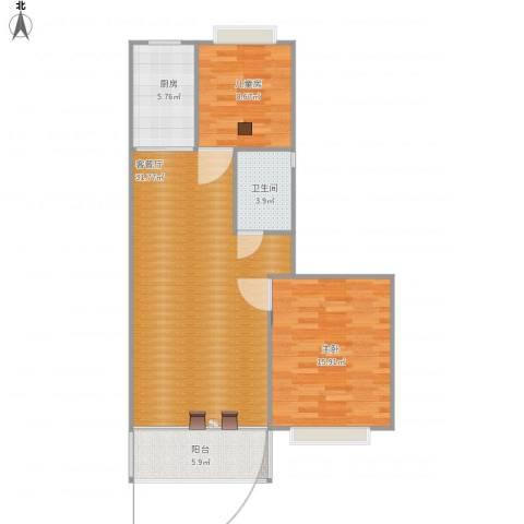 金马三区2室1厅1卫1厨85.00㎡户型图