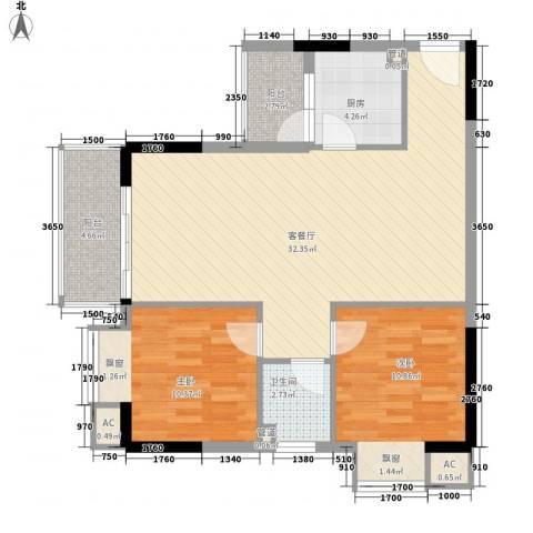 银湖山庄2室1厅1卫1厨69.26㎡户型图