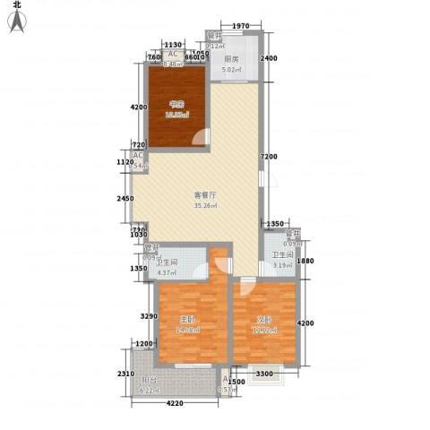 天鸿国际3室1厅2卫1厨132.00㎡户型图