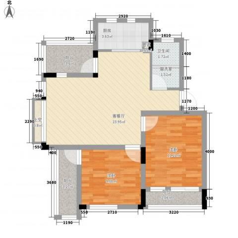 蓉湖山水2室1厅1卫1厨90.00㎡户型图
