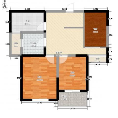 蓉湖山水3室1厅1卫1厨93.00㎡户型图
