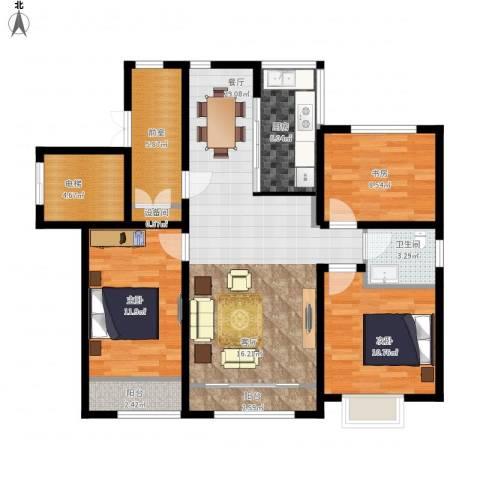 状元府邸3室1厅1卫1厨123.00㎡户型图