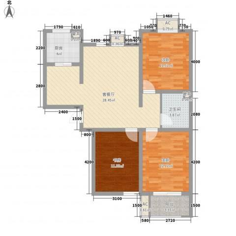 天鸿国际3室1厅1卫1厨111.00㎡户型图
