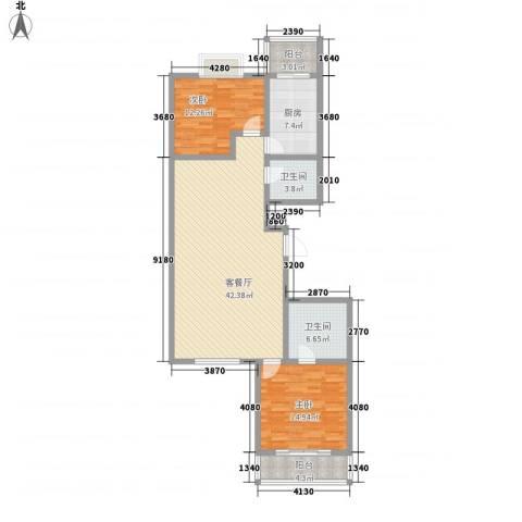 中环水岸2室1厅2卫1厨135.00㎡户型图