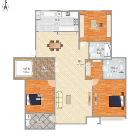 浦江坤庭3室1厅2卫1厨244.00㎡户型图