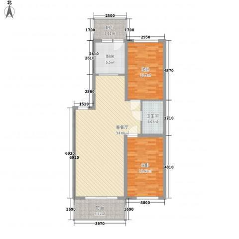 富佳新天地2室1厅1卫1厨77.54㎡户型图