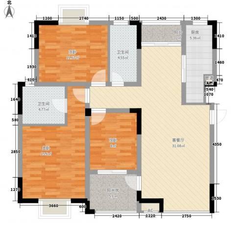 西郡188花园3室1厅2卫1厨127.00㎡户型图