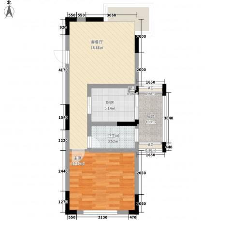 东方塞纳1室1厅1卫1厨68.00㎡户型图