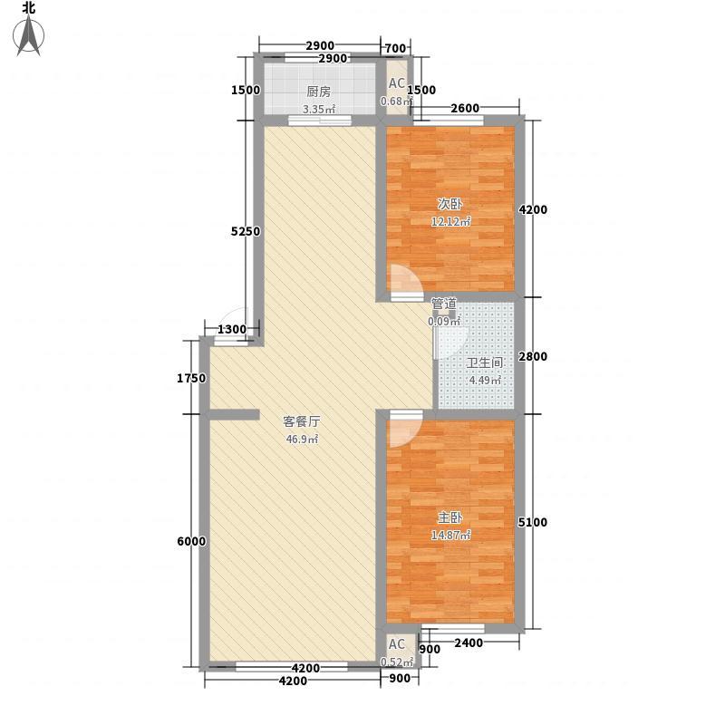 玉岱美庐18.30㎡标准层B1户型2室2厅1卫1厨