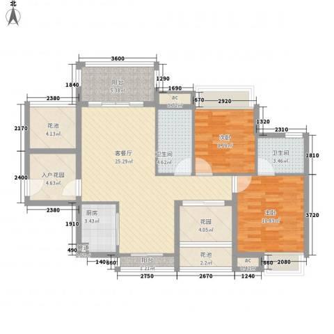 德盛南岛康城2室1厅2卫1厨89.00㎡户型图