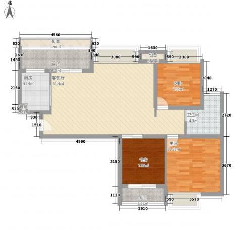 大学康城美域3室1厅1卫1厨112.00㎡户型图