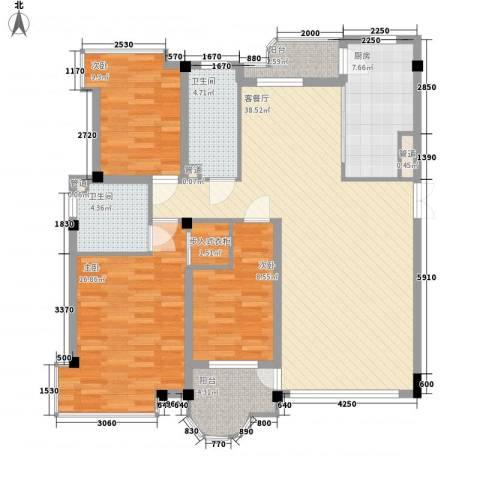 香洲心城3室1厅2卫1厨140.00㎡户型图