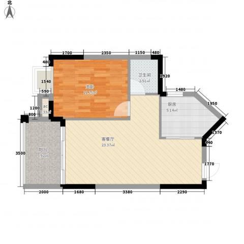 中央绿园1室1厅1卫1厨63.00㎡户型图