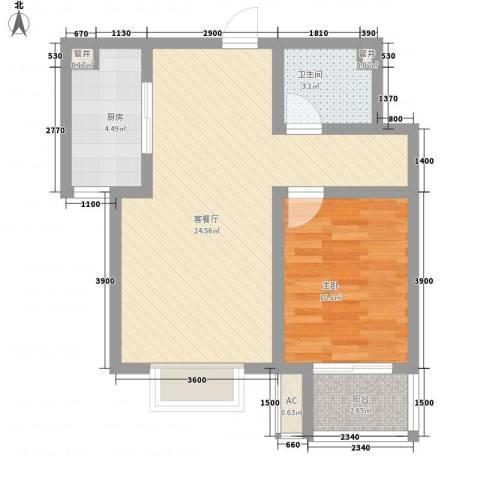 天鸿国际1室1厅1卫1厨45.77㎡户型图