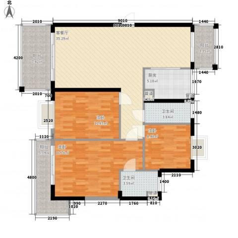 吉粮康城3室1厅2卫1厨145.00㎡户型图