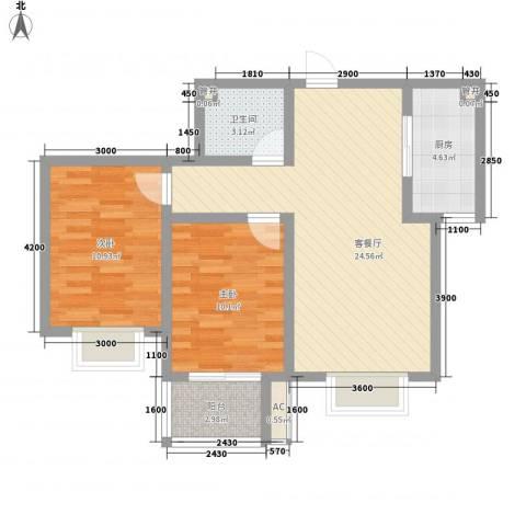 天鸿国际2室1厅1卫1厨87.00㎡户型图