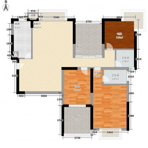大学康城美域3室1厅2卫1厨124.00㎡户型图
