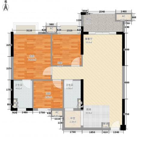 涛汇尚品3室1厅2卫0厨79.26㎡户型图
