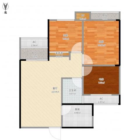 龙湖湘风星城3室1厅1卫1厨88.00㎡户型图