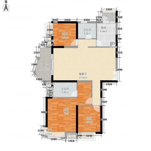清泉山庄3室1厅2卫1厨147.00㎡户型图