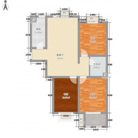 天鸿国际3室1厅1卫1厨115.00㎡户型图