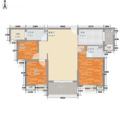 大学康城美域3室1厅2卫1厨115.00㎡户型图