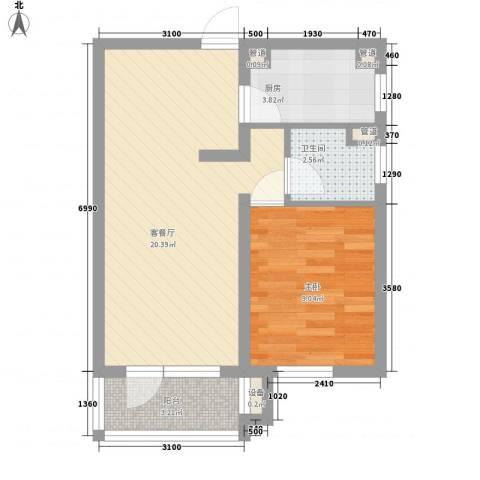 东方太阳城明湖园1室1厅1卫1厨58.00㎡户型图