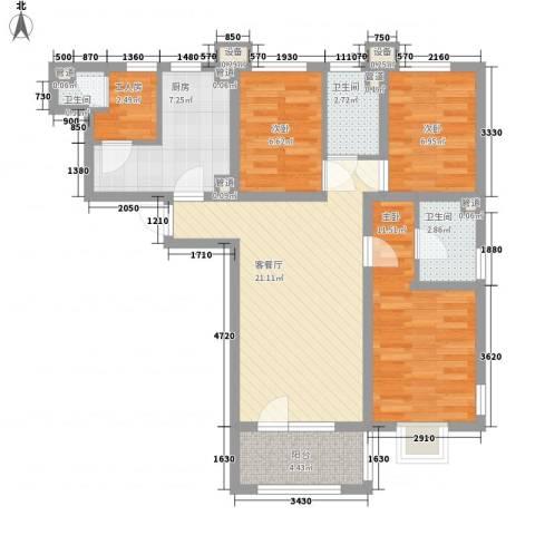 东方太阳城明湖园3室1厅3卫1厨101.00㎡户型图